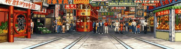 La rue animée où la castagne a lieu dans Real Bout Fatal Fury Special (1997)