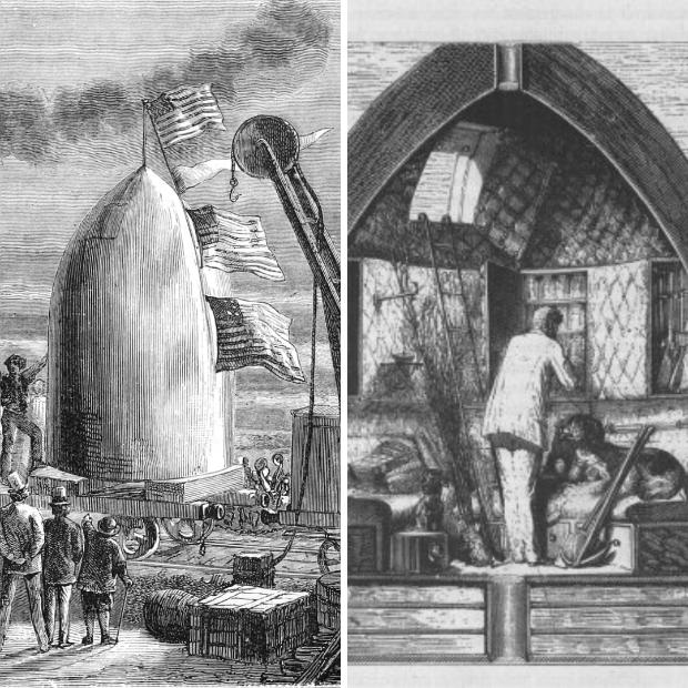 """Illustration du roman """"de la terre à la lune"""" de Jules Vernes"""