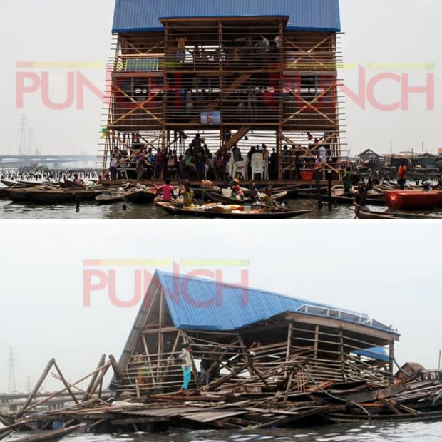Avant et après les pluies torrentielles de l'école flottante à Makoko