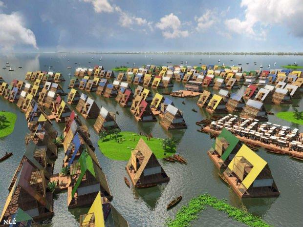 Projection d'une communauté flottante à Makoko