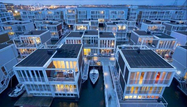Maisons flottantes à Ijburg, Waterbuurtt au Pays-Bas