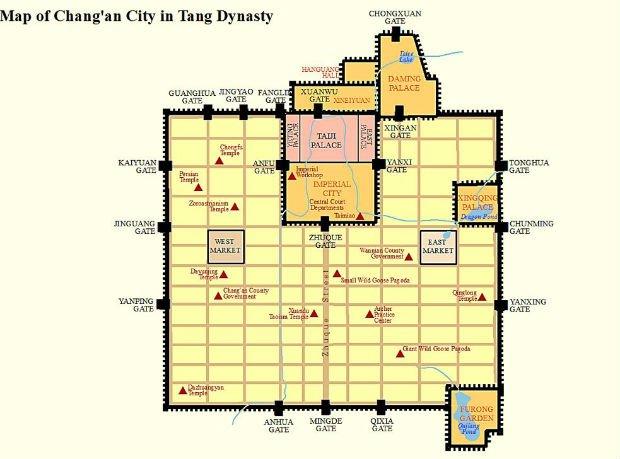 Ancien plan de Chang'an durant le règne de la dynastie Tang (VIIe au Xe siècle)