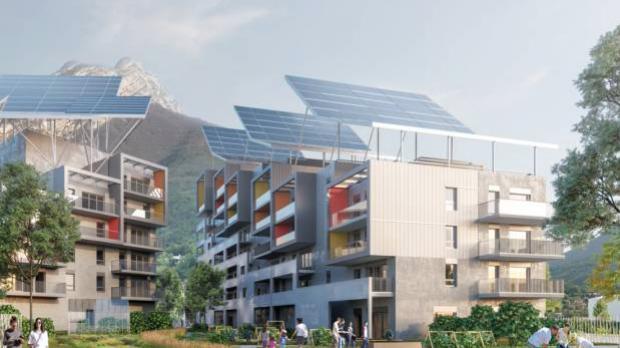 Des alternatives à l'habitat traditionnel fleurissent également en milieu urbain comme cet immeuble grenoblois, premier concept de bâtiment autonome en France conçu par Bouygues Constructions