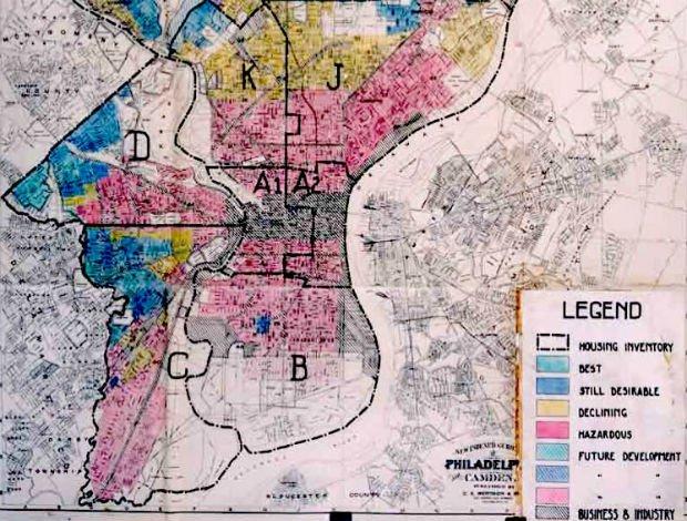 Carte de 1936 du redlining à Philadelphie. En jaune et rouge les quartiers en déclin ou dangereux où les prêts immobiliers sont déconseillés