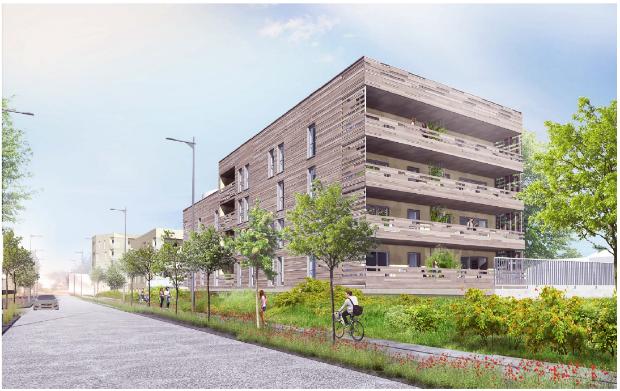 """Perspective sur l'insertion du projet """"Les Petits Ruisseaux"""" par le cabinet d'architectes VAZISTAS proposée le 23 mai 2018"""