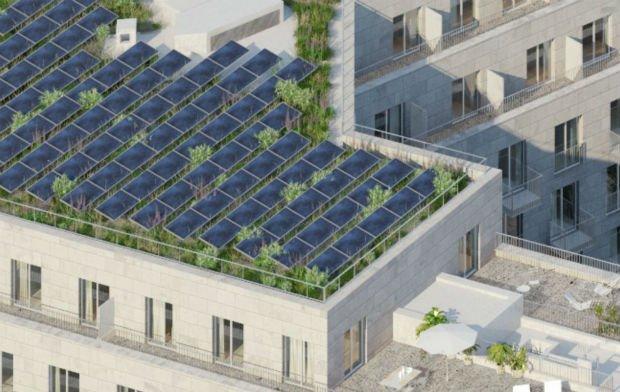Prévisualisation des toits-terrasses biosolaires qui laisseront place à la végétation pour préserver la biodiversité du site.