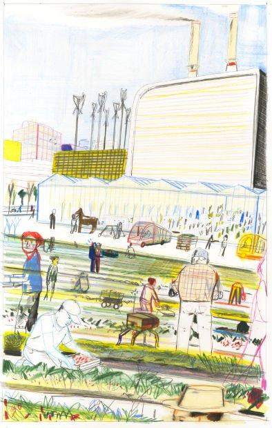 Saynète de ferme urbaine - Illustration Yann Kebbi pour Capitale Agricole