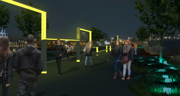Luana Jacq a imaginé un parcours lumineux permettant d'inclure davantage les mobilités douces nocturnes dans l'espace urbain