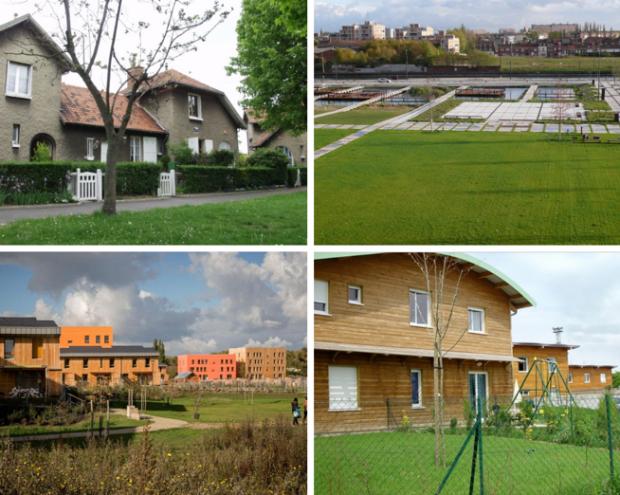Cité jardin de Stains ; Ecoquartier des Rives de la Haute-Deûle ; Eco-quartier des Noés à Val-de-Reuil ; Cité-jardin du Petit-Bétheny à Reims
