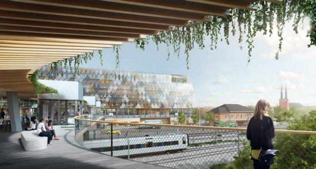 Future gare de la ville et de l'hôtel de ville, une construction écologique en bois répondant à la plus haute certification environnementale suédoise