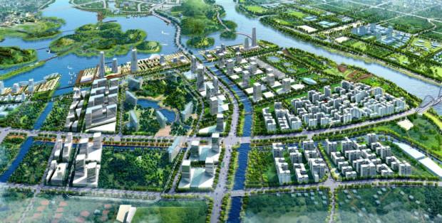 Vue d'artiste d'une ville verte et durable