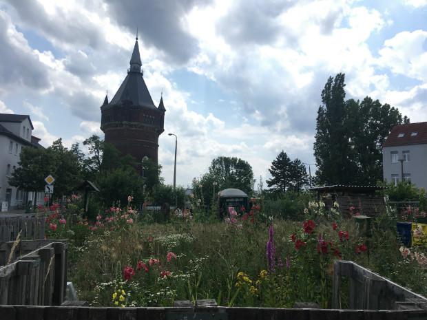 """Le """"Garten der Sinne"""" (""""Jardin des sens"""") de Ramona Hartmann, une des Claims réalisées dans le cadre l'IBA. A l'arrière plan, le Nouveau Château d'Eau, lui-même entretenu par une association de préservation du patrimoine - Gaëtan Kimmel"""