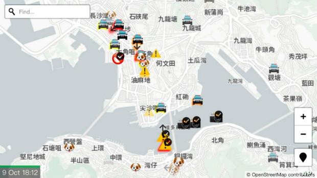 Un aperçu de la carte participative HKmap le 9 octobre 2019 - HKmap