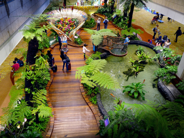 L'ambiance végétale de l'aéroport de Changsi à Singapour