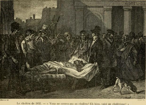 """Le choléra en 1832, """"Vous ne croyez pas au choléra ? Eh bien, voici un cholérique !"""" (gravure de Lucien Nass, 1907)"""