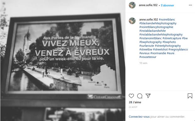 Campagne publicitaire d'Evreux - source : Instagram
