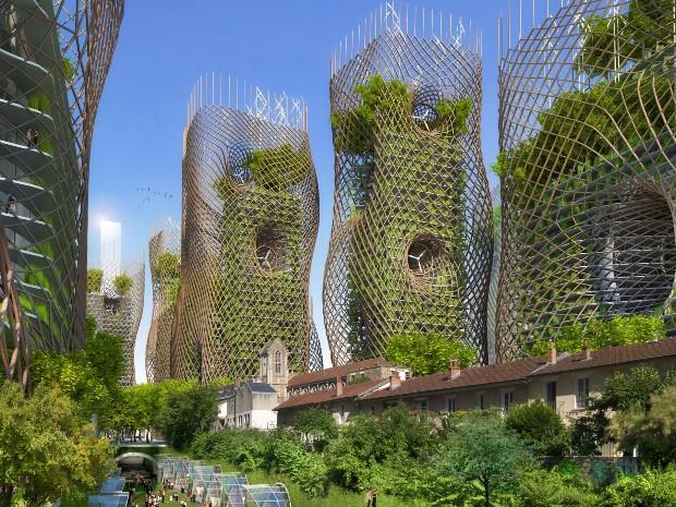 Dans le 13ème arrondissement de Paris, un exosquelette en bambou vient aider l'immeuble à supporter la charge des balcons végétalisés - Vincent Callebaut Architectures