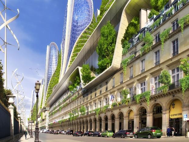 À Rivoli, les tours montagnes sont des bâtisses à énergie positives greffées sur le bâti haussmannien - Vincent Callebaut Architectures