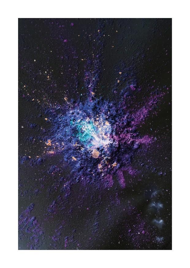 Le souffle-énergie - Le cratère espace du trouble. Travail à partir d'explosifs, farines et de pastels broyés - Karim Lahiani, 2020