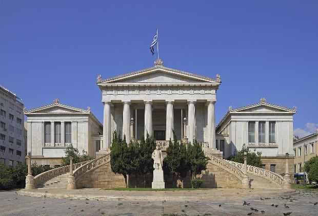 La bibliothèque nationale de Grèce dont le nouveau bâtiment a été dessiné par l'architecte contemporain Renzo Piano via wikipedia