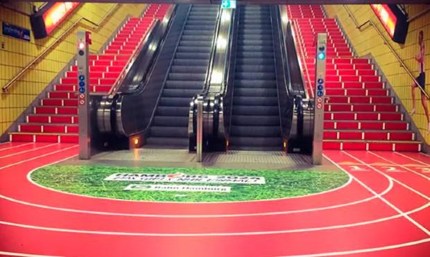 ©️Piste d'athlétisme dans un métro de Hambourg via Ecosia