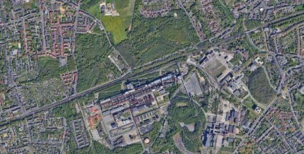 Essen - La zone végétalisée autour de la mine de Zollverein - Google Earth