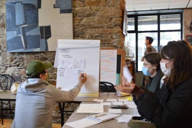 """Travail coopératif pour imaginer le nouveau design des espaces © Philippine Mahé, """"Atelier réinventer le restaurant du Progrès"""", Janvier 2021"""