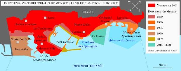 Carte des aménagements de Monaco sur la mer - Ventic/Wikipédia