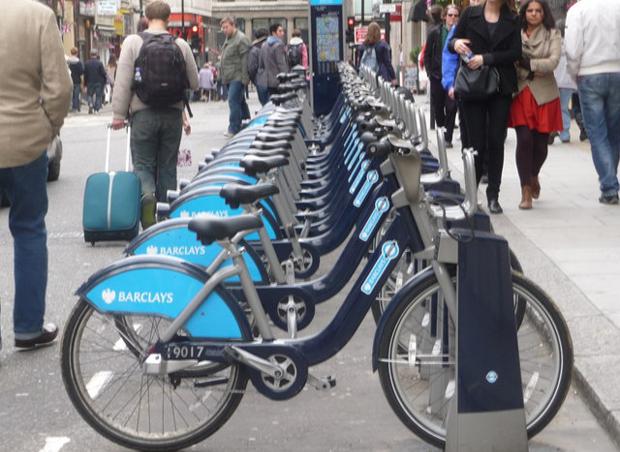 Borne de vélos à Londres, Angleterre. DR
