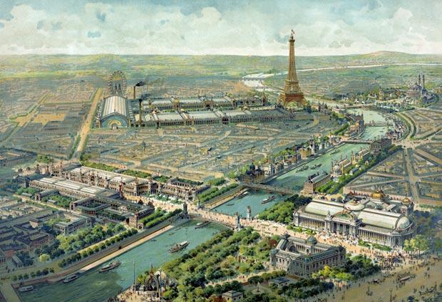 Vue panoramique de l'Exposition Universelle de 1900, organisée à Paris. Crédits : Lucien Baylac / Wikimedia