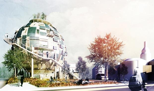 Le cabinet d'architectes Pink Cloud propose de démanteler les silos à pétrole pour en faire des habitations écologiques. Copyright : Pink Cloud