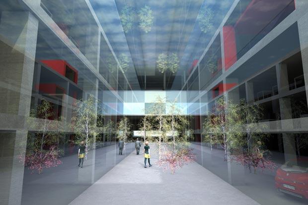 Bérénice Mensier a choisi de détourner l'usage d'un parking souterrain pour en faire un lieu public. En créant des ambiances, elle s'attache à inviter l'usager à s'enfouir sous terre en créant un espace habitable et désirable. © Bérénice Mensier