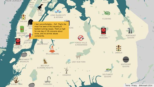 La carte interactive du projet HereHere permet de visualiser les préoccupations citoyennes dans chaque quartier de New York. Copyright : HereHere.co