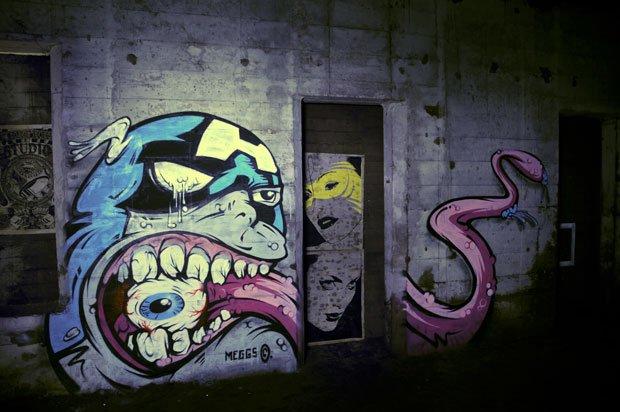 Graffiti de l'artiste Meggs réalisé dans le métro new-yorkais, dans le cadre du Underbelly Project.  Copyright : RJ / Flickr
