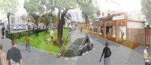 Trouver un système commun à plusieurs commerces peut permettre de mettre en valeur un linéaire de magasins et d'améliorer l'ensemble du cadre urbain. ©Ecole de design Nantes Atlantique – Ville de Nantes