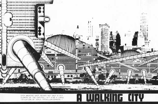 La BD permet aux architectes d'Archigram d'introduire du mouvement et une distance ironique dans les représentations de leurs utopies urbaines. Ici, la Walking City de Ron Herron.
