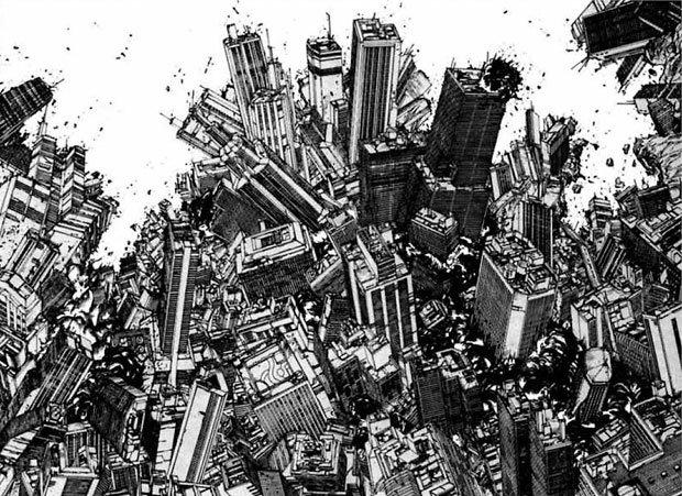 Dans le manga Akira, Katsuhiro Otomo dessine régulièrement la destruction urbaine.