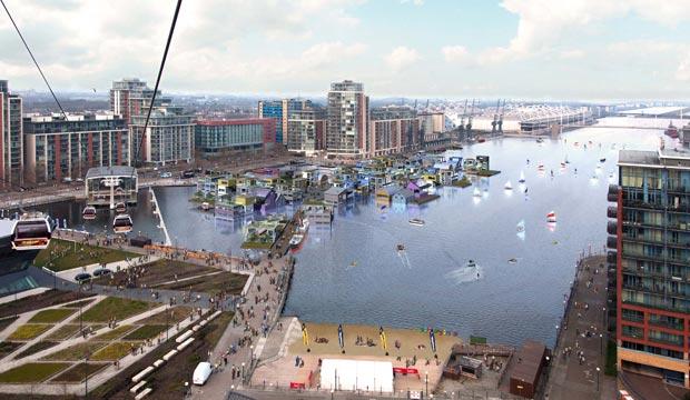 Projection du futur village flottant londonien, sur la rive Est de la Tamise. Copyright : Greater London Authority