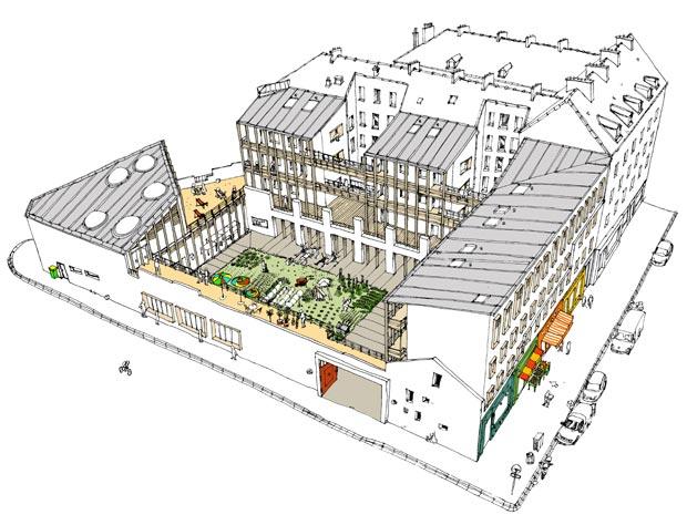 « L'Auberge du dialogue des âges » prévoit notamment un jardin partagé et des commerces donnant sur la rue. Copyright : Mutations Architectes