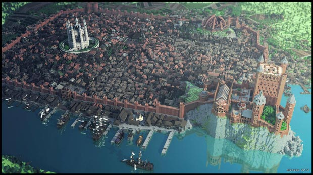 Plus de 100 joueurs de Minecraft se sont attelés à la reconstitution virtuelle de la cité de King's Landing (Game of Thrones). Copyright : Westeroscraft