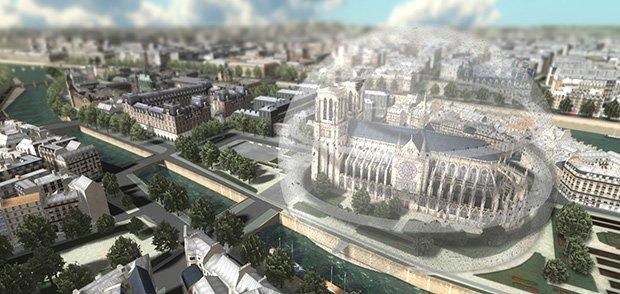 Notre-Dame sous cloche - Paris ; Crédits : François Schuiten / l'institut Passion for Innovation de Dassault Systèmes.