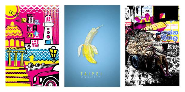 Affiches fête du graphisme ; Copyright : Adrian Aguero Zardón / Hung-Hsuan Lee / Poornima Jayasinghe