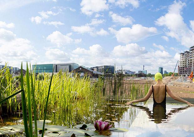 Future piscine publique - Londres. Copyright : Ooze ((Eva Pfannes & Sylvain Hartenberg) et Marjetica Potrč