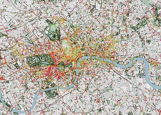 Plan d'un quartier de Londres. Copyright : Smelly Maps
