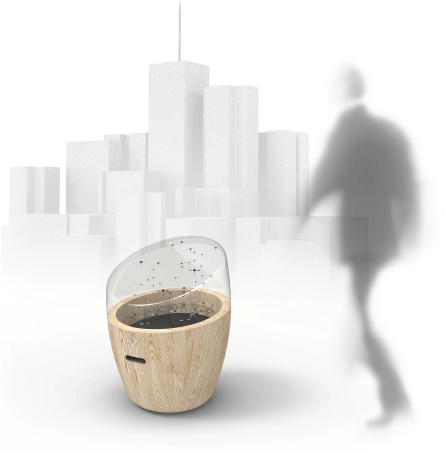 """Réfléchir au positionnement, à la visibilité et à la lisibilité des capteurs dans la ville : autant de champs à investir par le designer. Crédits : Projet """"Health Hive"""", Renaud Dardaine, Maxim le Ruyet, Pauline Pérol et Ben Stevens - L'Ecole de design Nantes Atlantique"""