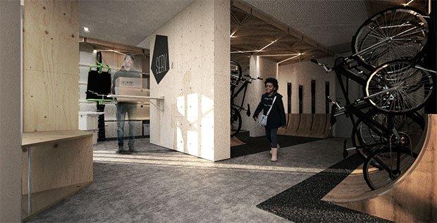 Un local à vélo comme espace créateur de services. Crédits : François Cattoni, Thibaud Leduc, Meng Pan, L'École de design Nantes Atlantique