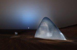 Visuel en 3D de la « maison de glace » imaginée pour la planète Mars par l'agence new-yorkaise SEArch (Space Exploration Architecture).