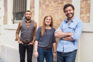 L'équipe du réseau social Peuplade. De gauche à droite : Amine Sadry (développeur), Mila Colas (community manager) et Grégoire Éven (management et marketing). Crédits : Pauline Dame