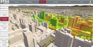 Simulation de densification d'un réseau 4G grâce à des antennes positionnées sur des lampadaires. Les résultats du calcul (grâce à la 3D) sont superposés sur les bâtiments et le sol. Copyright : © Siradel