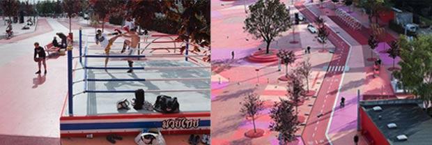 L'espace rouge du Superkilen dédié au sport © Agence BIG